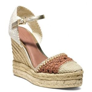 Coach Feline Crochet Espadrille Wedge Shoes SZ 9B